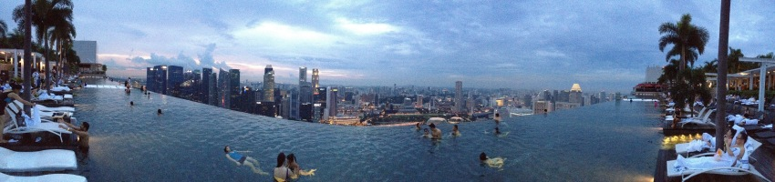 Marina Bay Sands infinity pool, at the top of the MBS building, which spans across all three towers.