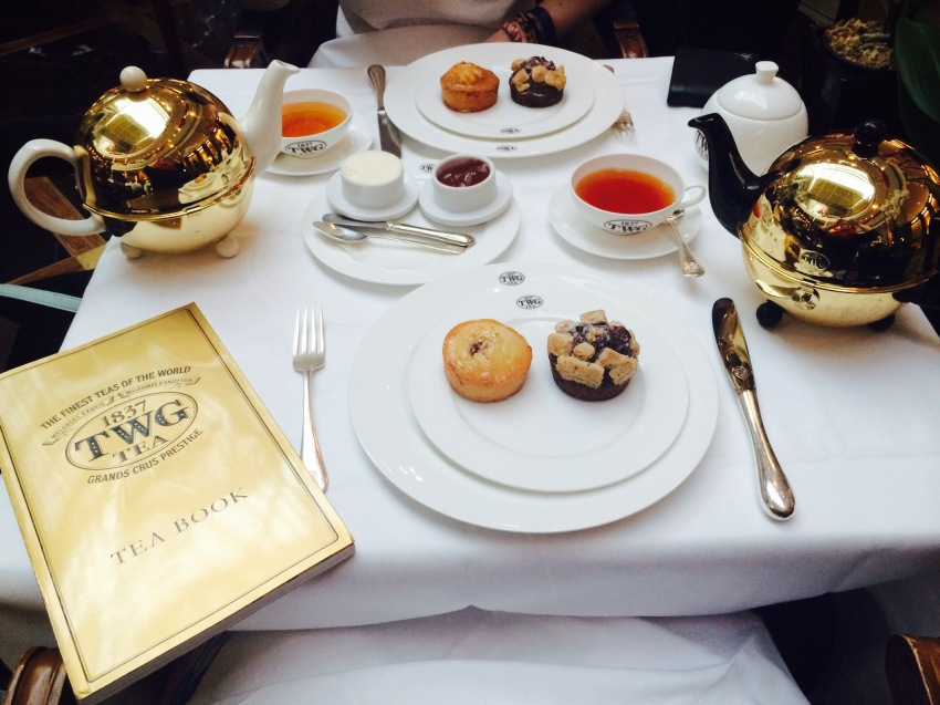Afternoon tea at the TWG Singapore located in the Marina Bay Sands Shoppes.