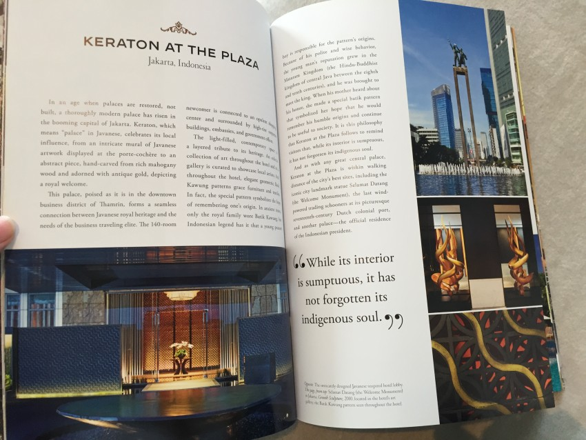 Inside the Luxury Collection Hotel stories magazine found in the Junior Suite or Executive Room of the Keraton at the Plaza features an article of the Keraton at the Plaza