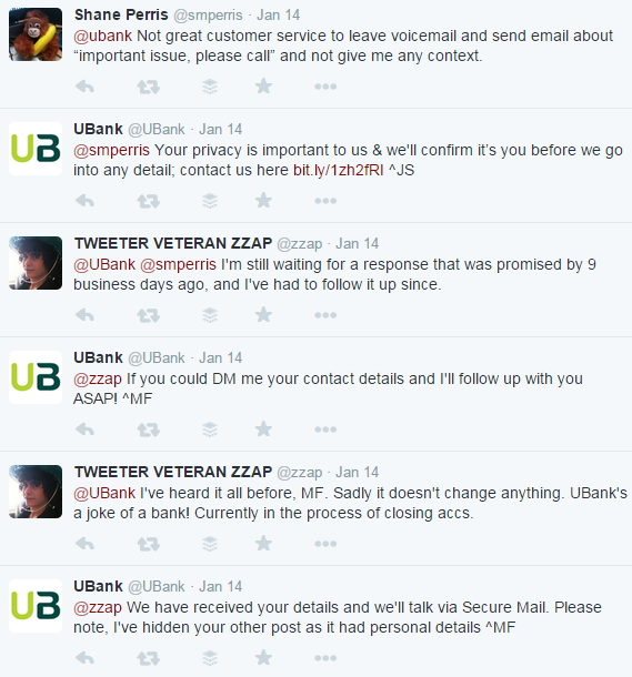 Twitter conservation between @smperris and @ubank