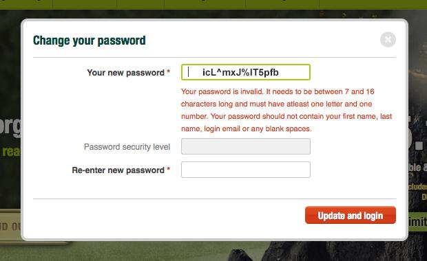 UBank's stringent password requirements