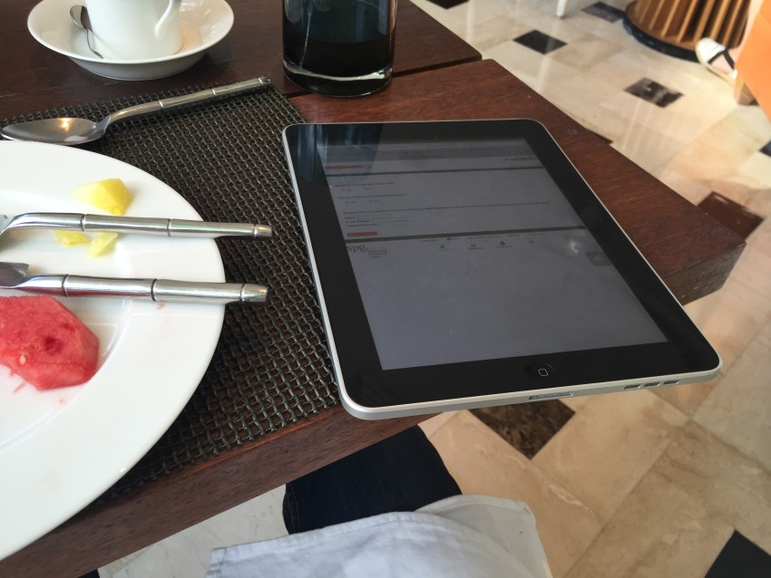 iPad with SPG breakfast survey at the Le Meridien Bali Jimbaran
