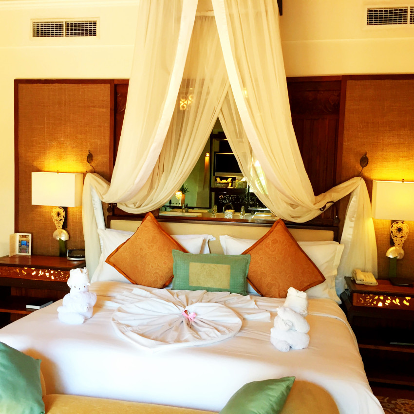 The bedroom of the one bedroom St Regis Lagoon Villa at the St Regis Bali Nusa Dua