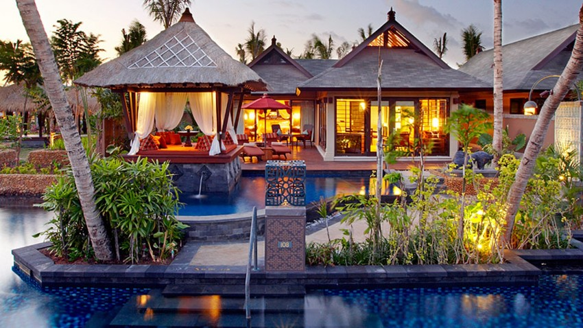 The public pool and cabana or Bale Bengong of the one bedroom St Regis Lagoon Villa at the St Regis Bali Nusa Dua