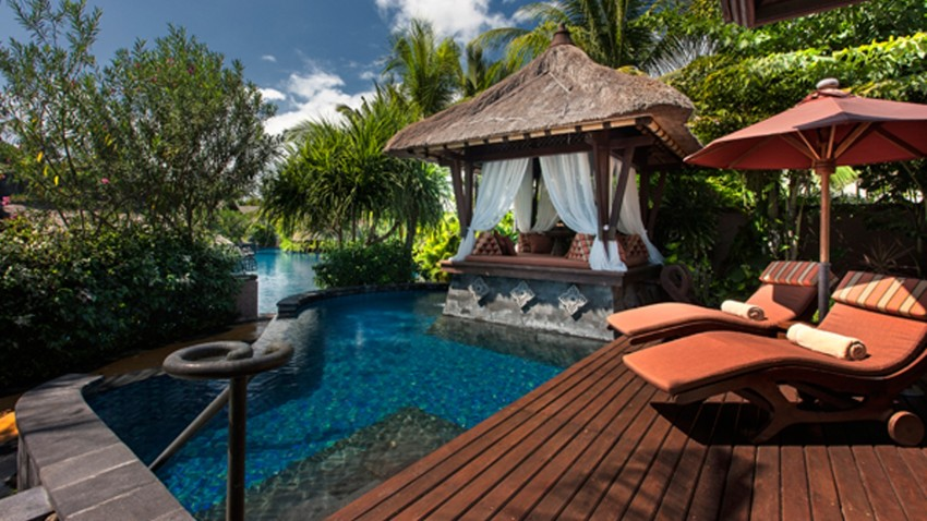 The private pool and cabana or Bale Bengong of the one bedroom St Regis Lagoon Villa at the St Regis Bali Nusa Dua